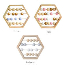 Round Wooden Beads Hexagon Frame Abacus Nursery Decor Educational Counting Toy