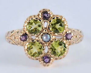 R107 Genuine 9K,10K,18K Gold Natural Peridot & Amethyst Suffragette Ring yr size