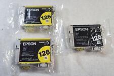 3 PACK GENUINE Epson 126 Black Yellow Ink Cartrige