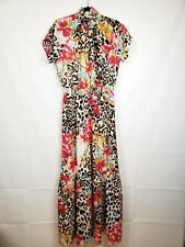 Gibson Women's dress NWT Leopard Floral Size Large Stretch Maxi Flare