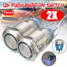 2X 19mm 12V Push Button Switch Ring Metal Self-locking Blue LED Light Waterproof