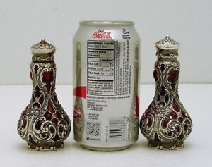 Gorham Whiting Sterling Silver Blown in Ruby Glass Salt & Pepper Shaker 3655