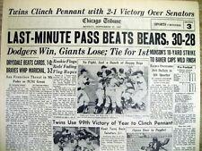 1965 hdlne newspaper MINNESOTA TWINS win AL pennant -Go to baseball WORLD SERIES