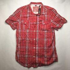 NWT BUFFALO DAVID BITTON Sadlen Short Sleeve Shirt Button-front Plaid Red $69 Q