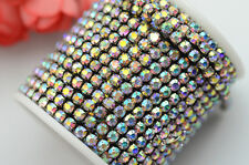 Crystal Rhinestone 4mm Close Chain AB Black Trim danceclothes sew on 10 Yard