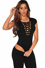 Club Top Body aperto Lacci Nudo intreccio Scollo Anelli Lace Up Cap Bodysuit M