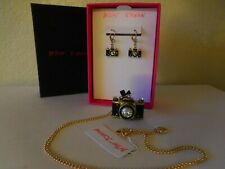Betsey Johnson Authentic Jewelry Goldtone Black Camera Crystal Drop Earrings