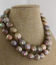 """two rows 13-14mm Tsouth sea round multicolor pearl necklace 18""""19""""925s"""