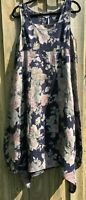 Navy Mute Flower Print Square Neck Linen Pinafore Dress NWT sizes 10 12 14 16