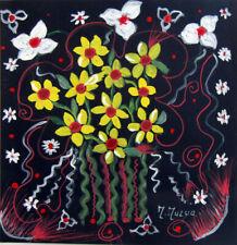 """MARIA MURGIA """"Fiori"""" mista su cartoncino nero cm 31,8X30,8 ASTA OCCASIONE ESTATE"""