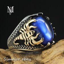 rare horoscope Scorpion MEN RING 925 STERLING SILVER LAB BLUE SAPPHIRE design