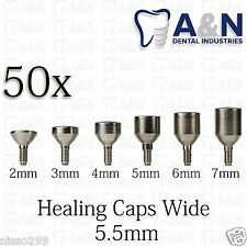 50 Healing Cap wide 5.5mm for Dental Instruments Internal Hex Lab HQ