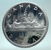 1966 CANADA w UK Queen Elizabeth II Voyagers Genuine Silver Dollar Coin i82300