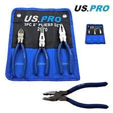 US Pro by Bergen Tools 3pc Plier Set, Cutter, Long Nose, Combination Pliers 2070