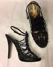 ROBERTO CAVALLI real crocodile alligator black unworn sandals heels 39 UK 6 US 8