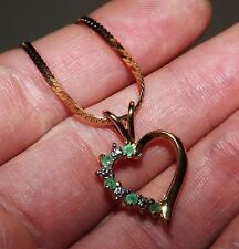 "18K GOLD ON STERLING SILVER Heart EMERALD & DIAMOND Pendant w/ 29-1/2"" Necklace"