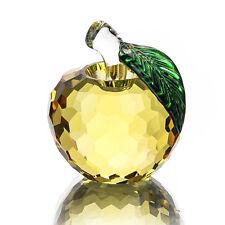 Yellow 3D Crystal Paperweight Glaze Apple Figurine Glass Wedding Decor Gift 40mm