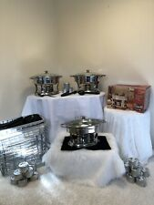 Buffet Catering Set Chaffing Dishes Sternos Utensils Food Service Entertaining