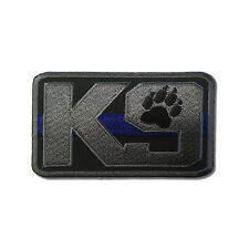 Embroidered K-9 Thin Blue Line Police Dog Sew or Iron on Patch Biker Patch