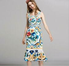 c03aa59c05d Retro Womens 2019 Dress Fishtail Floral Printed Slim Fit Sleeveless Chic  Dress