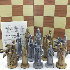 VTG PETER GANINE SCULPTURED CHESS SET PIECES & RULES SOLD INDIVID CONQUEROR 1962