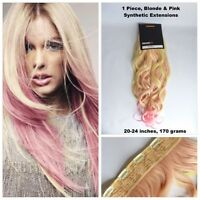 """20-24"""" 1 PIECE, Blonde & Pink Dip Dye Ombre Clip In Hair Extensions (E14)"""