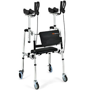 Folding Rollator 2IN1 Walking Frame Flip-up Seat Mobility Aid w/ Wheels&Armrests