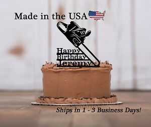 Chainsaw Cake Topper, Adventure, Trees, Sports, Chainsaw, Lineman, Arial, LT1441