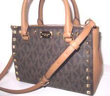 Michael Kors Brown Acorn Signature Studded Kellen XS Satchel Bag New NWT $339