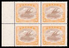 "Papua 1927 ""Lakatoi"" 4d light brown & orange block of four superb MNH. SG 99a."