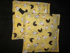 CHICKEN ROOSTER BLACK WHITE PRINT HANDMADE FABRIC POTHOLDER HOT PAD SET OF 2