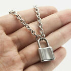 Silver Alloy Lock Pendant Necklace Padlock Charms Long Chain Unisex Jewelry Gift