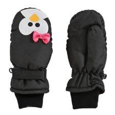 Aquarius Girls Black Penguin Snow & Ski Mittens Fleece & Thinsulate Lining