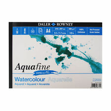 Daler Rowney Aquafine Watercolour A4 SMOOTH Pad 12 Sheets HP 140lb / 300gsm