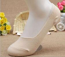 5 Pairs Women Bamboo Fiber Invisible Nonslip Loafer Low Cut  Boat Socks skin
