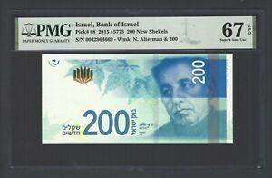 Israel 200 New Sheqalim 2015/5775 P68 Uncirculated Grade 67