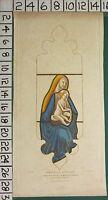 1845 Datato Antico Stampa ~Winchester~ Effetto Vetrata Vetro Vergine E Bambino