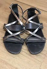 Marccain Ladies Italian Silver & Grey Flat Strapy Leather Sandal Size 40