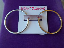 Inside Out Hoop Earrings Betsey Johnson Nwt Silver-Tone Pave