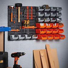 Étagère de rangement en plastique 44pc Outils Boîte & Crochet Mural Organisateur Garage Atelier Hangar