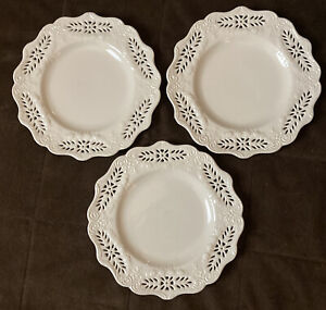 "Set Of 3 Victorian Collection Coastline Imports 8.25"" Plate Lattice Heart"