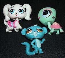 Littlest Pet Shop Lot 3 pcs White Dog  Blue Body Green Turtle LPS  -G+
