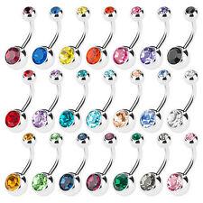12 Pcs Surgical Steel Gem Crystal Belly Bar Rhinestone Navel Ring Body Piercing