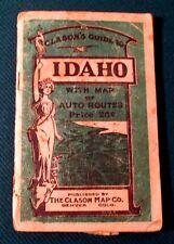 Rare 1917 Clason's Green Guide to Idaho ID Auto Map and Auto Routes