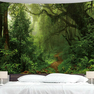 Dense Forest Quiet Path Ancient Big Tree Tapestry Wall Painting Hanging Cloth