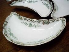 Antique 1896c Henry Alcock & Co. England Elite 4 Bone Dishes Grn Florals w/Gold