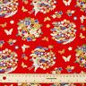 Japanese Cranes Butterfly Floral Red Cotton Fabric Fat Quarter Quilting FQ #0103