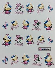 Nail Art Water Decals Hello Kitty Love Hearts BLE1669