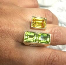 Vintage 18k gold Peridot Golden Sapphire.34ct diamond modernist ring 18.5g $3500