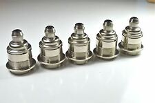 5 QUALITY NICKEL E27 EDISON SCREW IN BULB HOLDER LIGHT LAMP WITH CORD GRIP L12
